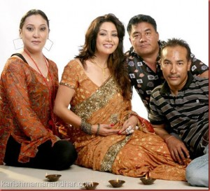 karishma manandhar with rajiv shrestha and others