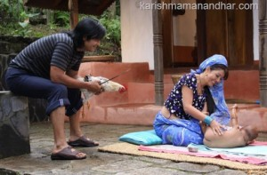 karishma tends baby rajesh hamal with rooster