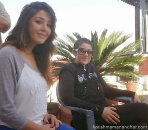 karishma and manisha koirala smile
