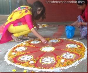 karishma manandhar rangoli in deepawali