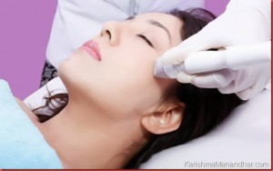 Karishma goign through Skin Lifting tightening and wrinkles