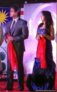 karishma and rajesh hamal on stage
