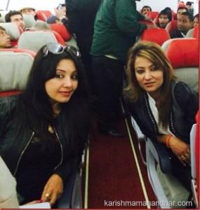 karishma manandhar and jharana thapa  in plane to malaysia