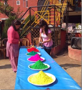 Karishma manandhar preparing holi celebration 2014 at godavar