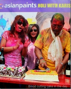 binod manandhra cuts birthday cake